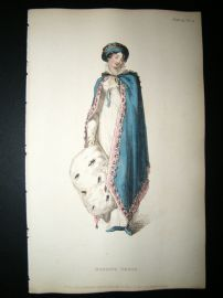 Ackermann 1813 Hand Col Regency Fashion Print. Morning Dress 9-14